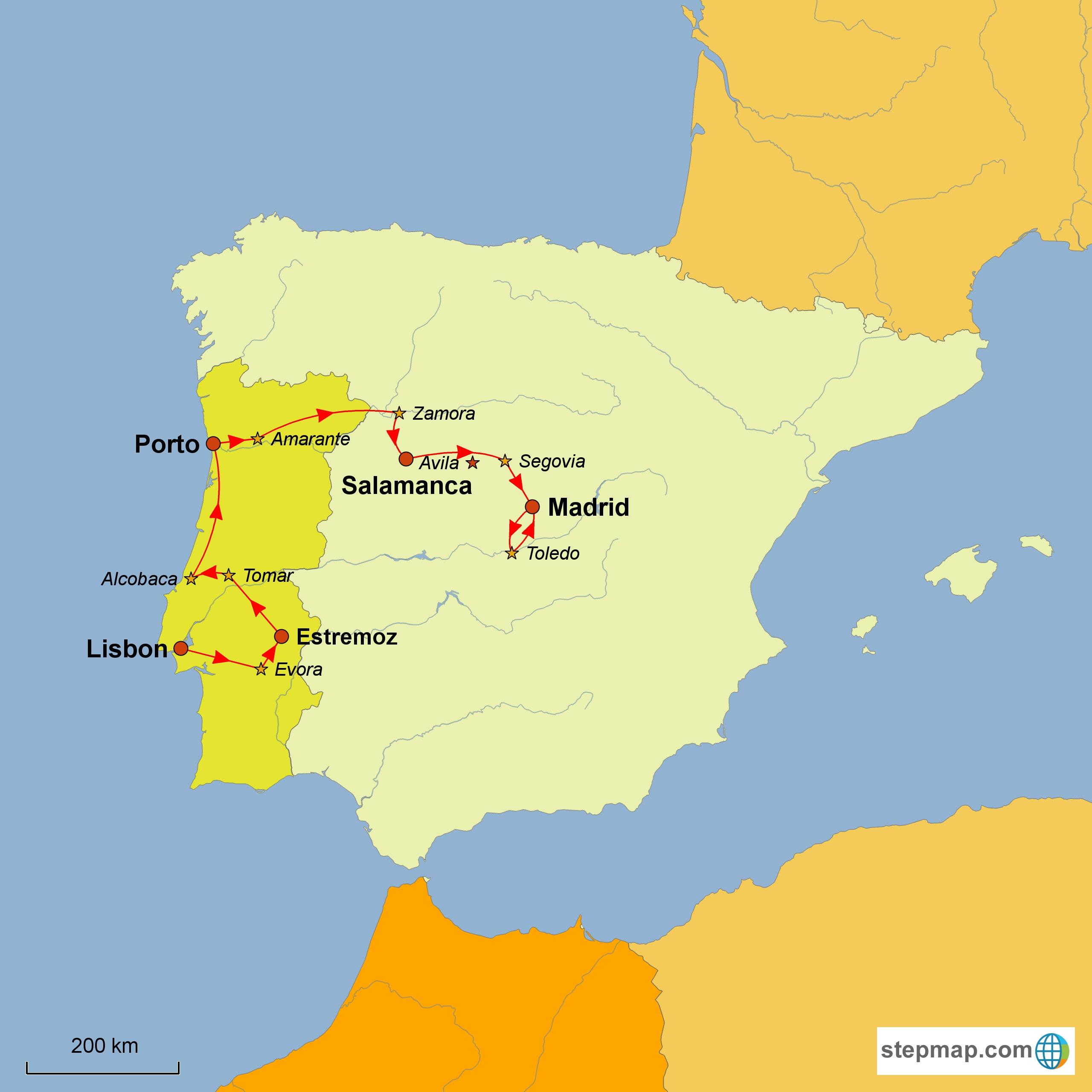 Stepmap Karte Con Brio 2016 Lisbon To Madrid 1475687 Con Brio